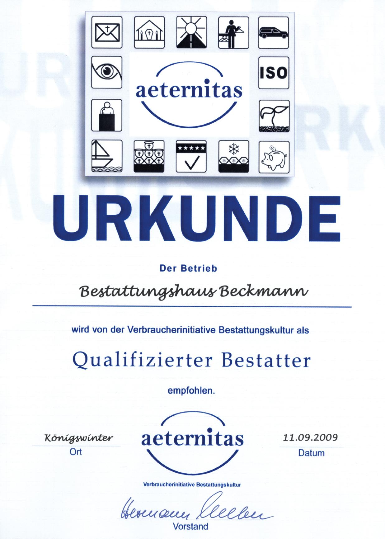 Urkunde aeternitas